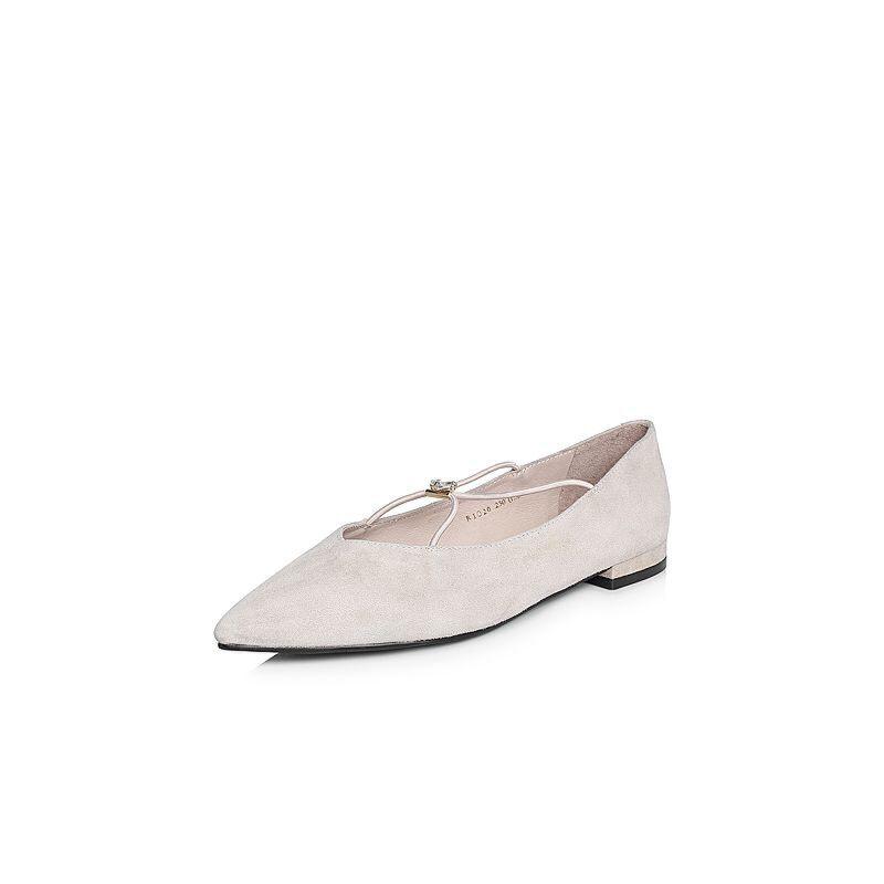 BASTO/百思图2018春季专柜同款羊绒皮浅口尖头方跟女单鞋RIO20AQ8