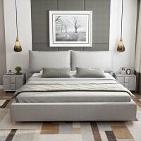 定制布艺床简约现代双人床 主卧布床小户型可拆洗北欧榻榻米床1.8 床+乳胶床垫+床头柜2个 下单备注颜色 1800mm