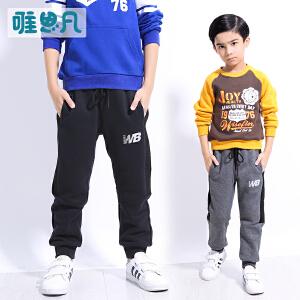 【男童双层加厚长裤】【3-17岁】儿童运动直筒裤中大童针织裤子