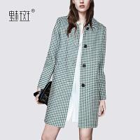 【新年狂欢到手价:459.5】魅斑复古格子茧型毛呢大衣女秋冬新款中长款羊毛呢子外套