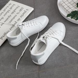 2018夏秋季新款街拍小白鞋女平底百搭韩版白鞋学生休闲女鞋子板鞋简单平底鞋子女系带阿甘鞋2LT