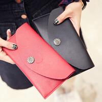 钱包女长款日韩学生原宿复古半圆小花零钱包简约纯色新款手拿包