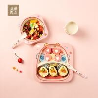 海澜优选竹纤维儿童餐具套装五件套粉色儿童分格餐盘