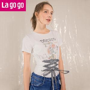 Lagogo2018夏季新款腰封绑带交衩圆领T恤短袖印花港味上衣女潮HATT313C05