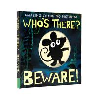 【盖世童书】Who's There谁在那儿?当心儿童宝宝读物英文原版绘本翻翻机关书 支持小怪兽小达人点读笔点读 精装