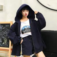 韩版时尚休闲套装春夏女装连帽风衣上衣外套+阔腿裤短裤两件套潮 均码