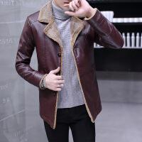 秋冬装中长款加绒加厚皮衣男翻领皮夹克韩版修身皮风衣时尚外套