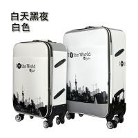 时尚拉杆箱万向轮学生行李箱旅行箱包男女20寸24寸26寸密码皮箱子 白色(白天) 终身保修