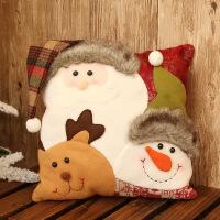 圣诞雪人组合抱枕靠垫圣诞节儿童礼品礼物圣诞装饰 三个头组合抱枕 老人