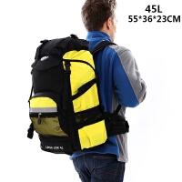 3件7折新款休闲双肩包日韩男女户外旅行背包45L60L多功能超大容量登山包 黄色 (45升)