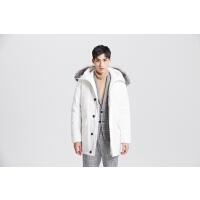 【满1000减750】MECITY男装男中长款毛领羽绒服休闲保暖外套