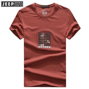 2018夏装薄款吉普JEEP圆领宽松休闲短袖polo衫 704060大码男T恤
