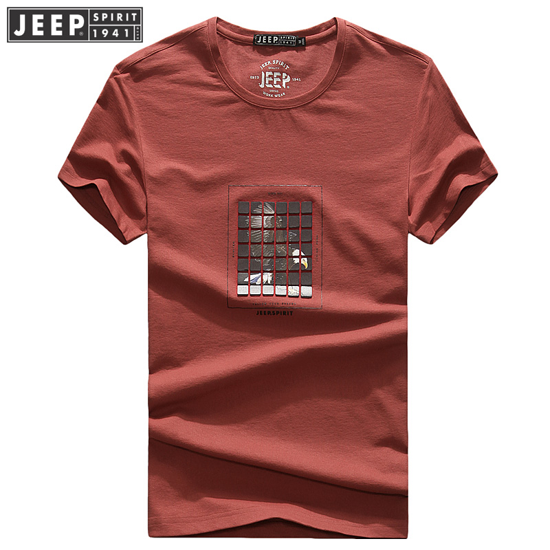 2018夏装薄款吉普JEEP圆领宽松休闲短袖polo衫 704060大码男T恤支持礼品卡支付,支持七天无理由退换!