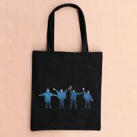 学院风帆布包环保袋拎包单肩女士包袋手提包学生大书包披头士 theBeatles披头士-黑竖包有拉链