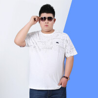 2018夏季加肥加大码男装短袖T恤肥佬宽松中年圆领T恤胖子印花汗衫