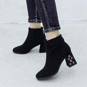 ZHR小短靴女春秋2018新款靴子女短筒裸靴粗跟百搭单靴时尚网红靴