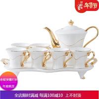 欧式描金客厅水杯套装咖啡杯茶具茶杯 家用水具杯子套装带托 自店营 白色金 6杯1壶1托 礼盒装