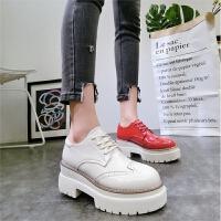 韩版春季新款圆头漆皮布洛克系带厚底松糕坡跟休闲鞋单鞋低帮女鞋