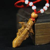 木雕家居装饰工艺品桃木剑随身挂件吊坠项链饰品