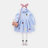 女童条纹连衣裙2018新款女宝宝春装公主裙儿童洋气裙子女孩童装夏