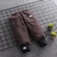 宝宝裤子男冬季加绒加厚灯芯绒长裤棉裤儿童冬款绒裤加厚男童外穿