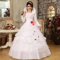 冬季婚纱礼服新娘2018新款简约韩版加厚大码齐地结婚长袖显瘦冬款