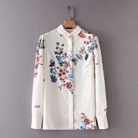 女装2018春装新款欧美风修身花朵印花立领气质长袖衬衫上衣女