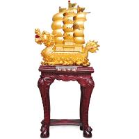 雅信特大号帆船摆件工艺品财运亨通公司店铺开业乔迁礼品送客户 金色 金色