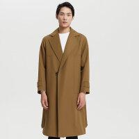 【1件2折到手价:279.2】MECITY男装秋季羊毛纯色中长款风衣外套男