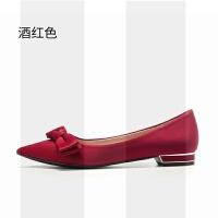 酒红色结婚鞋子女冬季平底孕妇新娘鞋低跟中式配礼服旗袍的秀禾鞋SN5609 酒红色