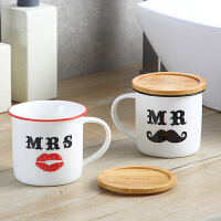 欧式浴室漱口杯情侣创意套装一对洗漱杯子带盖陶瓷刷牙杯结婚牙杯