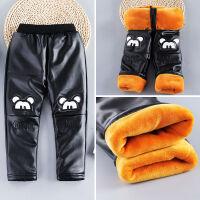 男童加绒裤子皮裤冬季小童保暖棉裤女童高腰宝宝幼儿可开裆加厚