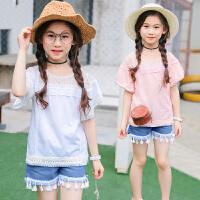 童装女童套装春夏装新款韩版短袖T恤流苏牛仔裤大童两件套装