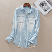 后背镂空蕾丝拼接春季长袖牛仔衬衫女 浅蓝双口袋上衣 WD597