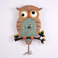 壁饰欧式挂钟可爱动物卡通猫头鹰时钟客厅卧室餐厅静音夜光创意钟 16英寸