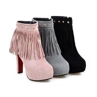 2018秋冬季磨砂短靴高跟粗跟流苏女靴子侧拉链圆头短筒单靴女鞋