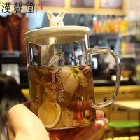 汉馨堂 马克杯 韩版玻璃创意卡通兔子可爱办公室带盖带勺女学生早餐牛奶杯燕麦杯家用喝水杯子