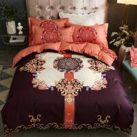 新品秒杀四件套全棉纯棉床单被套双人简约欧式1.8m床ins风网红床上四件套 紫