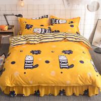 床裙单件学生宿舍四件套单人床单双人床罩1.5m米床笠床上被套三件