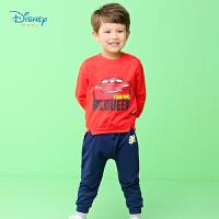 迪士尼Disney童装男童休闲长袖套装秋季新款闪电麦昆印花卫衣纯棉裤子两件套193T970