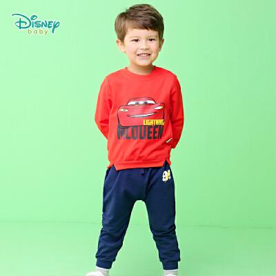 迪士尼Disney童装男童休闲长袖套装秋季新款闪电麦昆印花卫衣纯棉裤子两件套193T970 纯棉鱼鳞布,兼顾保暖与透气性