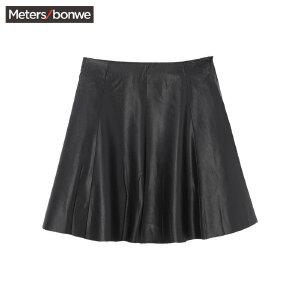 【2件2.5折到手价:19】美特斯邦威半身裙女士秋装黑色显瘦PU皮短裙子百搭学生韩版
