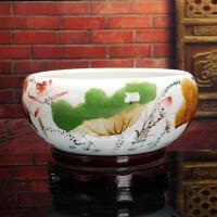 陶瓷鱼缸家居客厅装饰品摆件青花瓷金鱼缸锦鲤缸荷花盆