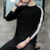 圆领厚毛衣男修身黑色粗针毛衣男潮流针织衫打底毛衣