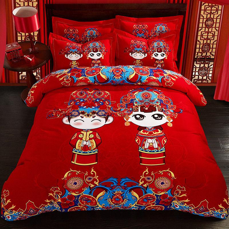 婚庆四件套18/加厚2/磨毛床单被套结婚床上用品