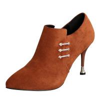 欧美性感高跟鞋2018秋冬新款尖头短靴百搭细跟马丁靴女踝靴及裸靴