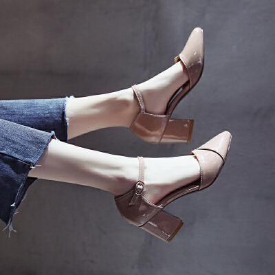 单鞋女2019春季新款凉鞋女夏百搭韩版尖头一字扣小清新粗跟高跟鞋 杏色(收藏加购优先发货) 春单鞋  走进大自然的怀抱,美丽从这里起步。