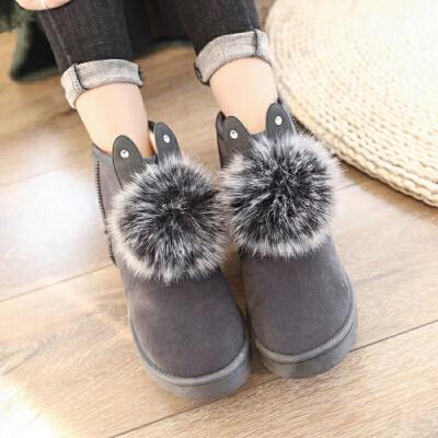 冬雪地靴保暖女靴子平地厚底女鞋兔耳朵毛球短靴学生鞋女棉靴防滑