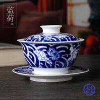 全手工绘青花盖碗茶杯功夫陶瓷茶具景德镇制蓝荷花薄胎