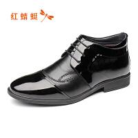 【领�幌碌チ⒓�120】红蜻蜓冬季棉鞋布洛克马丁靴男真皮复古高帮系带加绒短靴